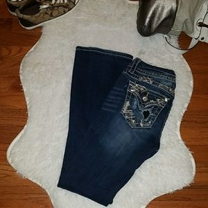 Miss Me Mid Rise Bootcut Size 24 Embellished Jeans